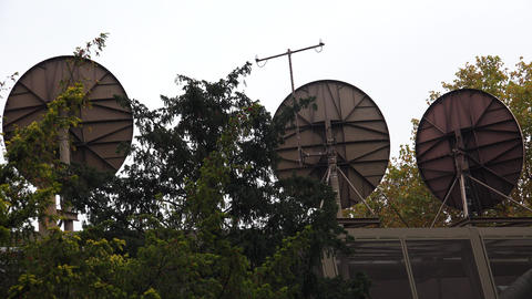 Satellite dishes on the roof. 4K Footage