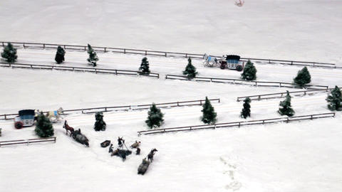 Horse Drawn Sleighs On Snowy Road stock footage
