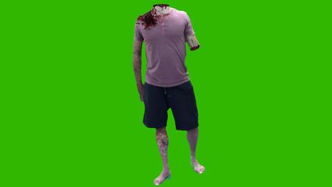 Green Screen Zombie Cut Head stock footage
