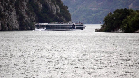 Passenger ship on the Danube at the entrance of large boilers c Footage