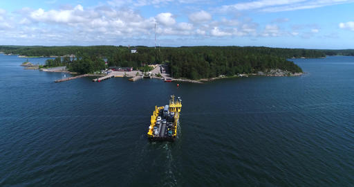 Ferry, Cinema 4k aerial view on the side of a cable ferry floating between korpp Footage