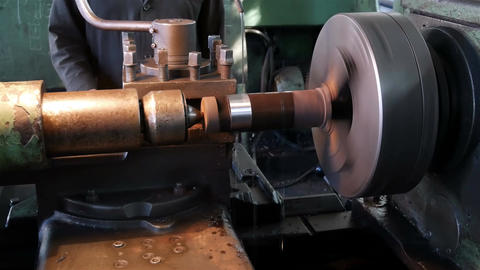 Roughing the part on an old lathe Image