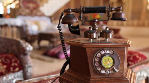 Antique wooden Land line Phone Live Action