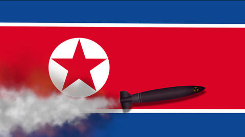 Nuclear Missile on the Background Flag of North Korea Footage