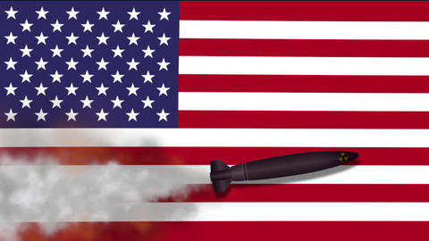 Nuclear Missile on the Background Flag of USA Image