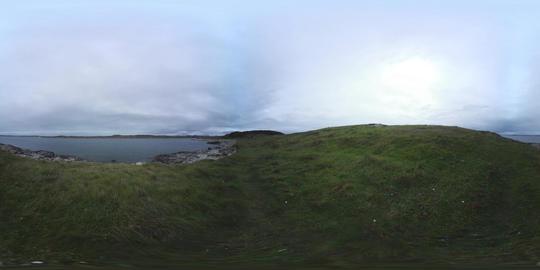 360 VR – Atlantic Ocean Panorama from grassy shore, Connemara, Ireland VR 360° Video