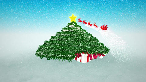 Snowy Christmas Background. Gifts under Christmas Tree and flying Santa at the b Animation