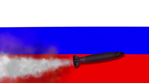 Nuclear Missile on the Background Flag of Russia Image