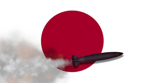 Nuclear Missile on the Background Flag of Japan Footage
