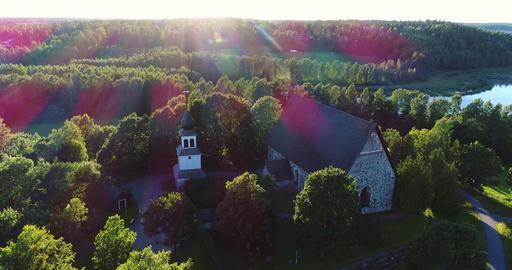 Medieval church, Cinema 4k aerial sideway view of pyhan katarinan kirkko church, Footage