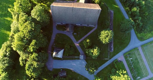 Medieval church, Cinema 4k aerial rising view over pyhan katarinan kirkko church Footage