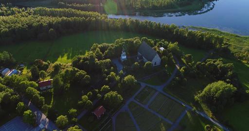 Medieval church, Cinema 4k aerial view away from pyhan katarinan kirkko church, Footage