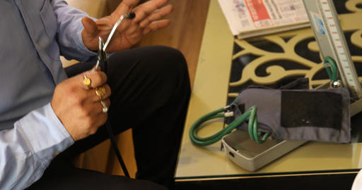 Doctor checking blood pressure Footage