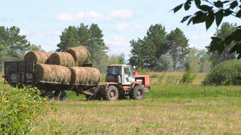 Tractor loading hay 4 Footage