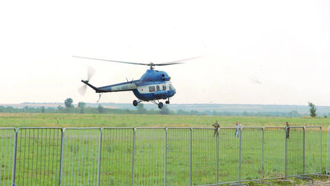 Helicopter lands 2 Footage