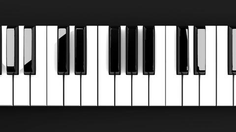 Piano Keyboard On Black Background, Stock Animation