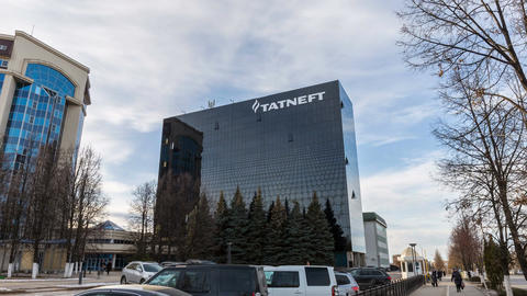 Timelapse Motion around Black Shining Tatneft Office Building Footage