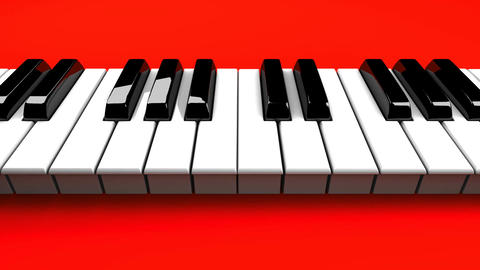 Piano Keyboard On Red Background Animation