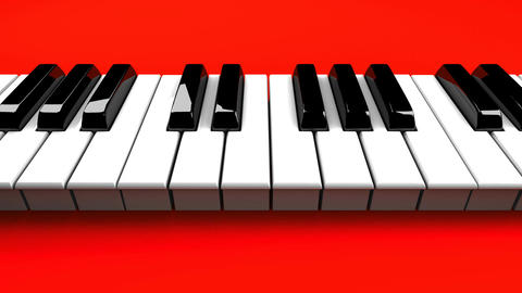 Piano Keyboard On Red Background Stock Video Footage