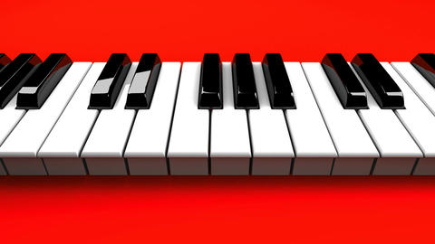 Piano Keyboard On Red Background, Stock Animation
