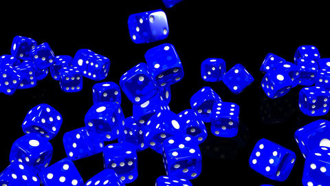 Blue Dice On Black Background Stock Video Footage