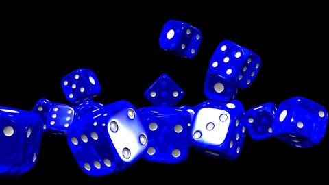 Blue Dice On Black Background CG動画