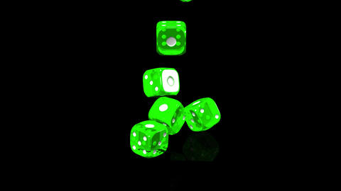 Green Dice On Black Background Stock Video Footage