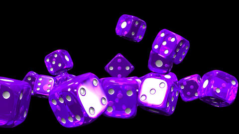 Purple Dice On Black Background CG動画