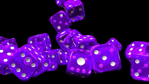 Purple Dice On Black Background Stock Video Footage