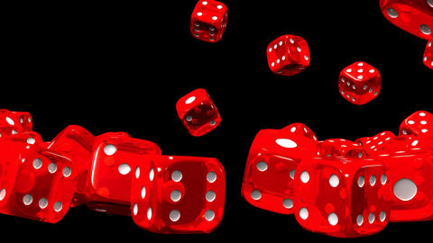 Red Dice On Black Background, Stock Animation