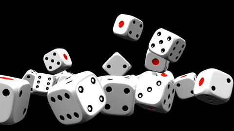 White Dice On Black Background CG動画