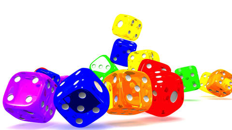 Colorful Dice On White Background Animation