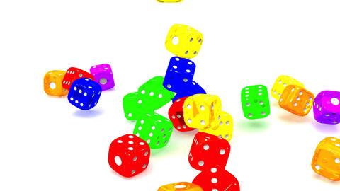Colorful Dice On White Background CG動画