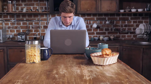 Student has breakfast and scrolling social media Footage