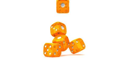 Orange Dice On White Background Stock Video Footage