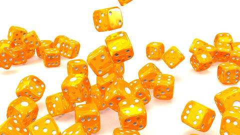 Orange Dice On White Background, Stock Animation