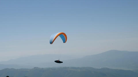 Beautiful landscape with paraglide Footage
