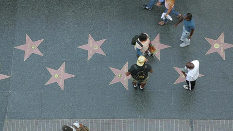 Walk of Fame on Hollywood boulevard top view Footage