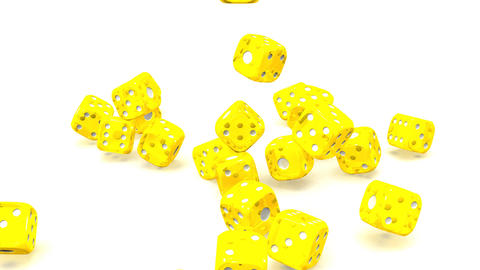 Yellow Dice On White Background CG動画