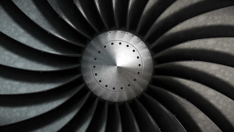 Close-up turbine engine front-end fan Stock Video Footage