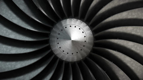 Close-up turbine engine front-end fan Animación