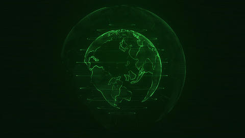 Planet Earth animation. Rotating globe, shining continents with accented edges Animation