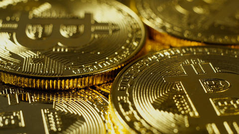 Crypto currency Gold Bitcoin - BTC - Bit Coin. Macro shots crypto currency Footage