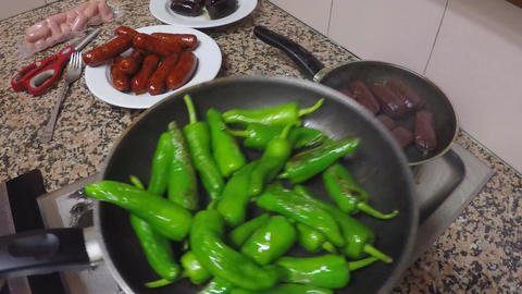 Green Peppers Fried ビデオ
