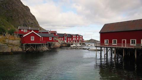 Red Classic Norwegian Rorbu fishing huts Image
