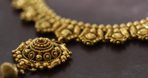 Gold jewelry Macro shot Live Action
