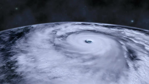 Hurricane storm tornado over the Earth from space, satellite view Footage