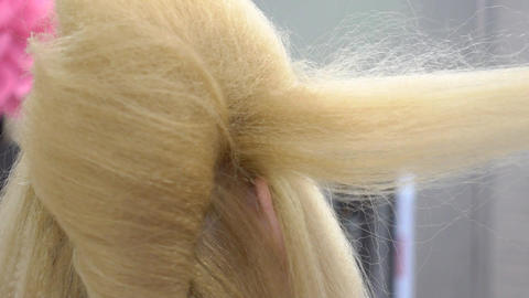 Hair Stylist Drying Long Blonde Hair Footage