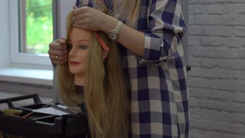 Hair Stylist Drying Blonde Hair Footage