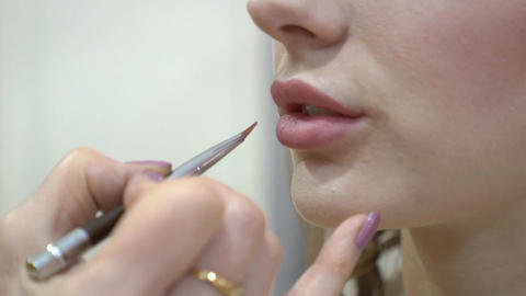 Professional Make Up Stylist Paints Model's Lips With Lipstick Footage